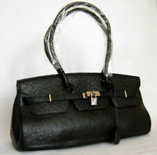 NEW LARGE BLACK OSTRICH BAG HANDBAG PURSE TOTE (W27)