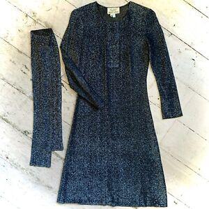 Vintage 1960's Black Lurex Evening Dress Size 8