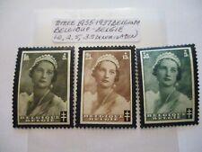 Three 1935-1937 Belgium-Belique-Belgie Postage Stamps - 1.0, 2.5, 3.5 Denominati