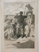 """Harper's Weekly Page Civil War Approach of the British Pirate """"Alabama""""1863"""