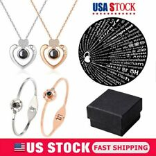 Heart Silver Gold Pendant I LOVE YOU in 100 Languages Light projection Necklace