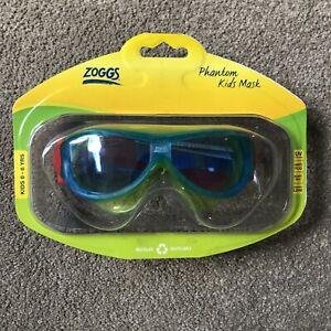 Zoggs Phantom Kids Mask Goggles Blue Green 0-6 Years Swimming Holiday Anti Fog