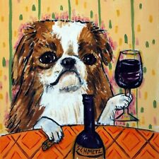 japanese chin dog wine art tile Coaster impressionism animals artist gift new