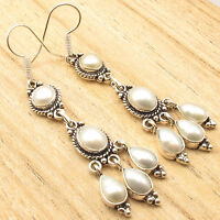 5 PEARL Jewel LONG Earrings 2 5/8 Inch ! 925 Silver Plated WELL MADE Jewelry