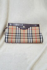 *BURBERRY* HORSEFERRY CHECK CANVAS AND LEATHER MEDIUM CLUTCH BAG