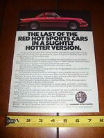 1986 ALFA ROMEO ***ORIGINAL AD*** THE LAST OF....