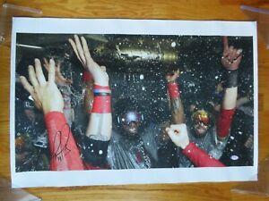 DAVID ORTIZ signed BOSTON RED SOX 2013 WORLD SERIES Celebration 30x20 Canvas PSA