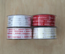 MERRY CHRISTMAS grosgrain ribbon by the Metre - RED WHITE GOLD SILVER - 1 metre