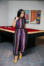 Women sleeveless ruffled colorful striped bodycon club party casual jumpsuit