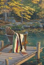 Fall Adirondack on the Pond  Deck Fall Leaves Autumn Garden Sm Flag Toland