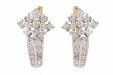 0.51 Cts Round Brilliant Cut Natural Diamonds Huggie Earrings In Solid 14K Gold