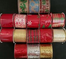 "Christmas Ribbons 2 to 2.5"" Wide Gloss Glitter Wire Burlap 3 Yd/Pk Select: Type"