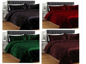 5 Pc Diamante Luxurious Velvet Crystal Embellished Bedspread/Coverlet Set