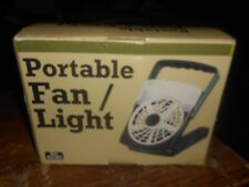 portable 6 inch battery powered plastic fan and light in good shape works used