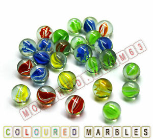 40pcs Coloured Glass Marbles Kids Traditional Toys Classic Vintage Gift Game
