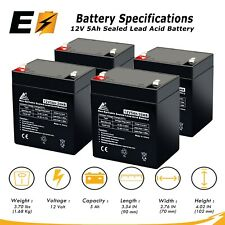 12V 5AH Battery for Razor E100 E125 E150 E175 Scooter - 4 Pack