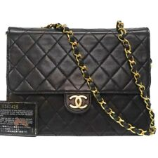 Auth CHANEL Quilted Matelasse Chain Shoulder Bag Leather Black color Q2657IAOA5