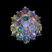 TOP PRECIOUS OPAL RING : Natürliche Edel Opal Ring Gr.16,5 Sterlingsilber R233