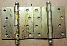 """Pair 2 antique McKinney 4"""" square dull brass plated mortise ball tip door hinges"""
