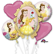 Beauty and the Beast Balloon Bouquet 5pc ~ Girl's Birthday Party Favor Supplies
