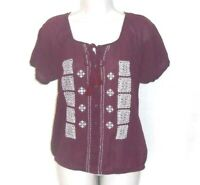 Gap Shirt Top Women Size S Button Up Embroidered Tassel Tie Short Sleeve Red
