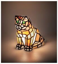"Green Eyed Orange Cat Stain Glass Accent Lamp 7"" Halloween Decor"