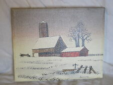 vintage Hargrove painting winter farm barn country scene Collectors Corner regis