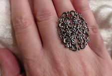 Large Adjustable Gun Metal Toned Filigree Oval Cocktail / Oversized Fashion Ring