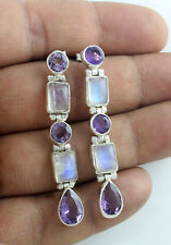 EARRINGS NATURAL AMETHYST RAINBOW MOONSTONE SOLID 925 STERLING SILVER JEWELRY