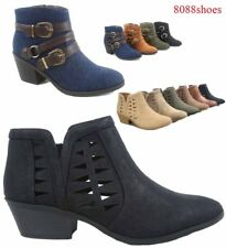Women's Fashion Zip Chunky Low Heel Ankle Booties Shoes Size 5.5 - 11 NEW