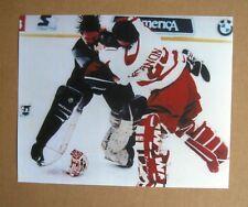 Red Wings Fight Vernon vs Patrick Roy Colorado Avalanche 8x10 Color Photo