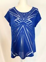 Apt. 9 Womens Shirt Top Blouse Size L Blue Scoop Neck Short Cuffed Sleeves Sheer