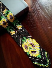 Long BEADED sunflower NECKLACE gerdan HANDCRAFTED Jewelry Ukrainian traditional