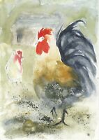 ROOSTER AND HEN ORIGINAL PRINT OF WATERCOLOUR PAINTING BY DIANE ANTONE GIFT IDEA