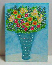 ACEO Original Miniature Painting, SHABBY BLUE FLOWER ART, Acrylic, 3.5x2.5 in