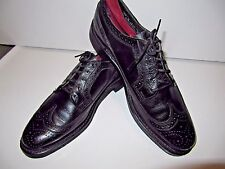 Mens Vtg Hipster Stafford Black Leather Wing Tip Dress Shoes  9.5 B Old Stock