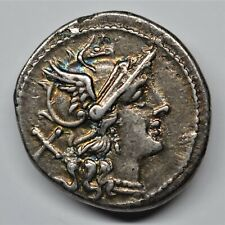 AN EARLY ANONYMOUS REPUBLICAN SILVER DENARIUS, ROME, 211-206 BC. RRC: 44/5.