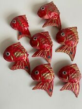 7 Vintage Japan Japanese Paper Mache Hariko Fish Red Snapper