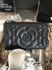 NWT CHANEL 2017 Black Caviar Camellia Flower Key Ring Card Coin O-Case Zip Pouch