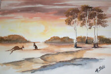 Australia OUTBACK Queensland Kangaroos , Original Watercolor Signed Painting
