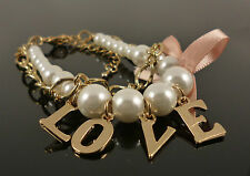 Cute Pearl Pink Bow Gold Love Valentines Jewellery Bracelet