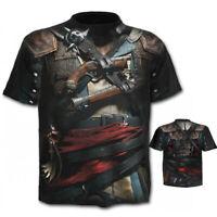 3D Gun Print Short Sleeve T-Shirt Men's Cowboy Style Funny Tee Shirts Cool Tops
