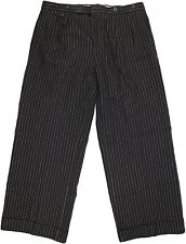 POLO RALPH LAUREN MEN'S NAVY & WHITE STRIPE LINEN/COTTON PANTS-36-ITALY