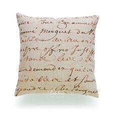 """Hofdeco Decorative Throw Pillow Case Cushion Cover Vintage French Paris Bee 1700s Script Parchment Paper 18""""x18"""""""