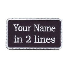 Rectangular 2 Line Custom Embroidered Biker SEW ON  Name Tag PATCH (WBW)