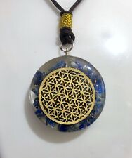 REIKI ENERGY CHARGED LAPIS LAZULI WITH FLOWER OF LIFE ORGONE CRYSTAL PENDANT