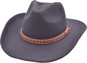 High Quality Handmade 100% Wool FELT COWBOY HAT Crushable,Water Repellent -IN UK