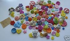 Assorted wooden & resin buttons, various sizes. 160 approx. UK SELLER.  FREE P&P