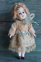 Antique doll dress and hat, silk, lace, for small French Bebe antique dolls