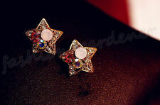 Women Fashion Creative Star Shape Crystal Rhinestone Ear Stud Earrings Jewelry
